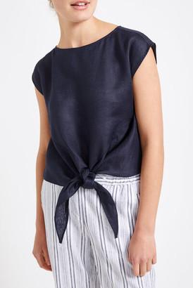 Sportscraft Nadine Navy Linen Tie Front Top