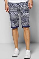 Boohoo Aztec Printed Chino Shorts