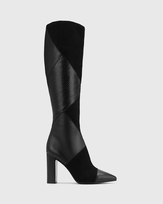 Wittner - Women's Black Long Boots - Hawn Patchwork Leather Block Heel Long Boots - Size One Size, 35 at The Iconic