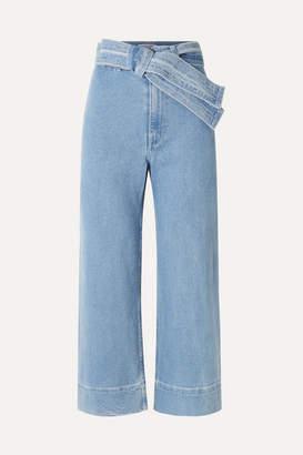 Apiece Apart Merida Cropped Belted High-rise Wide-leg Jeans - Indigo