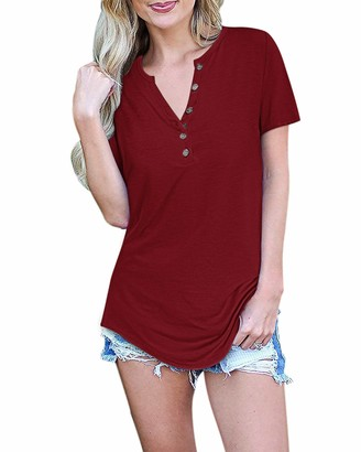 AUSELILY Women's Short Sleeve V-Neck Button Loose Casual Tunic Tops Blouse Henley T Shirts(Wine Red Large)
