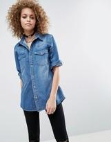 Asos Denim Boyfriend Shirt in Mid-Wash Blue