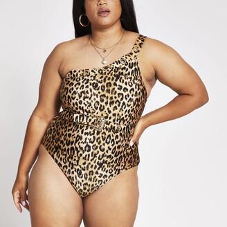 River Island Womens Plus animal print one shoulder swimsuit