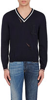 Lanvin Men's Distressed Wool V-Neck Sweater-NAVY