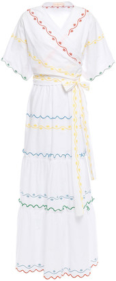 Tory Burch Wrap-effect Scalloped Embroidered Cotton-poplin Maxi Dress