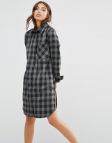 Daisy Street Shirt Dress With Pocket In Check