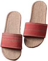 Freewent Women's Comfortable Silent Antiskid Cotton Flax Indoor Slippers Open Toe 35-36