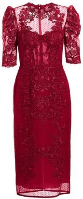 ZUHAIR MURAD Lace & Mesh Illusion Midi Dress