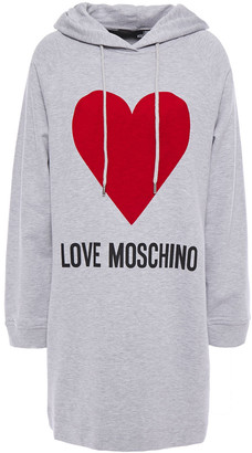 Love Moschino Flocked Printed French Cotton-terry Hooded Mini Dress