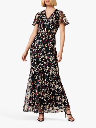 Phase Eight Daiva Fishtail Floral Print Maxi Dress, Black/Multi