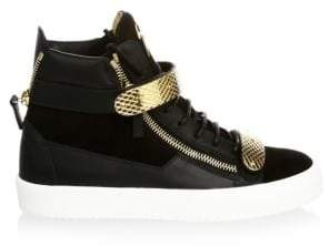 Giuseppe Zanotti Double-Bar Suede High-Top Sneakers
