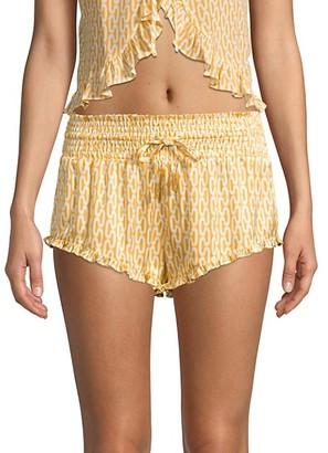 Paloma Blue Silk Printed Ruffle Shorts