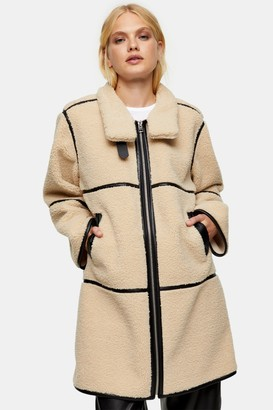 Topshop Cream Jacket With Black PU Piping