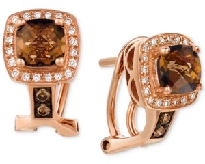 LeVian Le Vian Chocolate Quartz (1 ct. t.w.) & Diamond (1/6 ct. t.w.) Drop Earrings in 14k Rose Gold