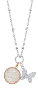 Unwritten Cubic Zirconia Butterfly And Mother Of Pearl Pendant Rose Gold Two Tone Necklace