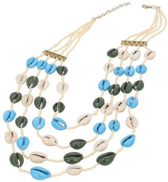 Shop Lc Multi Coor Glass Beads Shell & String Necklace in Iron 27 in - Necklace 27''