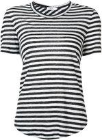 A.L.C. asymmetric back striped T-shirt - women - Linen/Flax - L