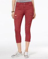Vanilla Star Juniors' Cropped Rip and Repair Colored Skinny Jeans