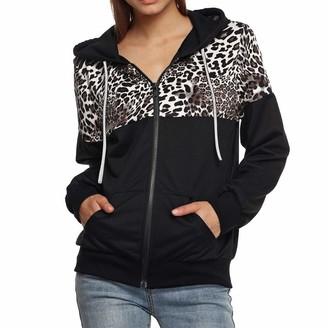 Toamen Women's Tops Clearance Womens Sweatshirt Hoodie Toamen Autumn Winter Long Sleeve Leopard Print Hooded Jacket Coat Tops(Black 14)