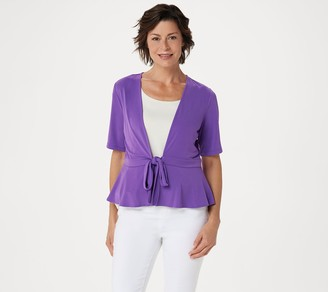 Susan Graver Every Day by Liquid Knit Short Sleeve Tie-Front Shrug