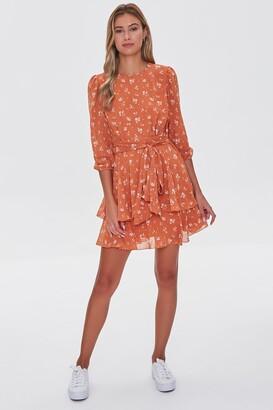 Forever 21 Floral Chiffon Mini Dress