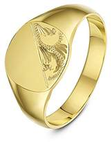 Theia 9ct Yellow Gold Cushion Shape Engraved Design Heavy Weight Signet Ring - Size J