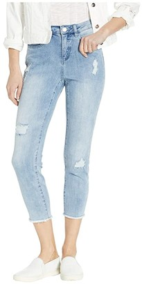 FDJ French Dressing Jeans Statement Denim Stripe Patches Detail Olivia Roll-Up Crop in Sky