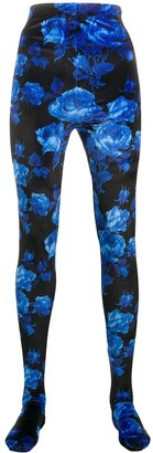 Richard Quinn Footed Floral-Print Leggings