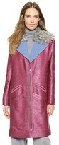 Glitter Coat with Shearling Collar