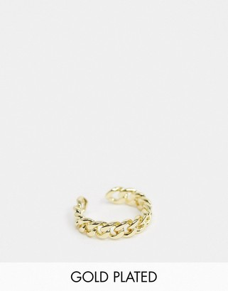 Pieces 18K gold plated chain ring in gold