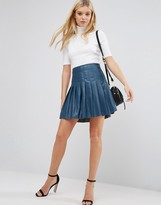 Lavand Pleated PU Skirt