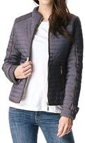 Charcoal Contrast-Trim Zip-Up Puffer Coat