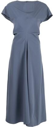 Low Classic Pinch-Waist Midi Dress