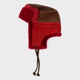 Paul Smith Men's Burgundy Colour-Block Sheepskin Chapka Hat