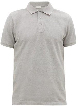 Moncler Logo-plaque Cotton-pique Polo Shirt - Grey