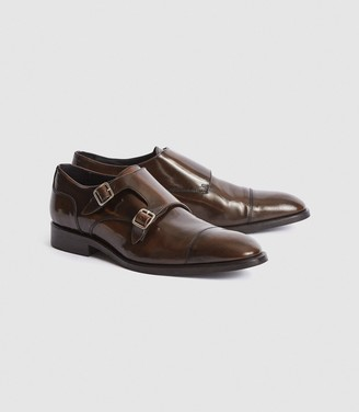 Reiss Rivington - High Shine Leather Monk Strap Shoes in Brown