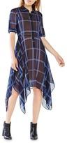 BCBGMAXAZRIA Beatryce Plaid Silk Dress