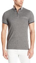 Ted Baker Men's Zoomba-Printed Woven Collar Polo-Modern Slim Fit, Navy, 7