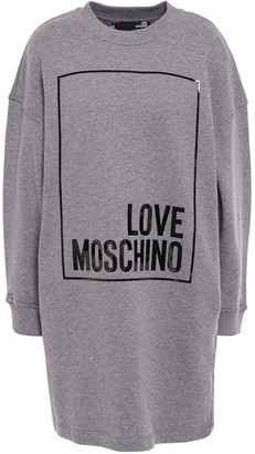 Love Moschino Printed Melange French Cotton-terry Mini Dress