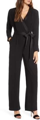 Eliza J Long Sleeve Wrap Jumpsuit