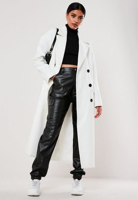 Missguided White Oversized Double Breasted Midaxi Coat
