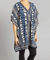 Blue & White Stripe V-Neck Cape-Sleeve Tunic - Plus