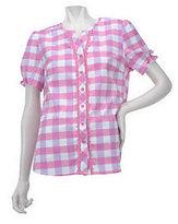 As Is Denim & Co. Short Sleeve V-neck Plaid Woven Shirt