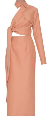 ALEKSANDRE AKHALKATSISHVILI Side Wrap Collared Cotton Maxi Dress
