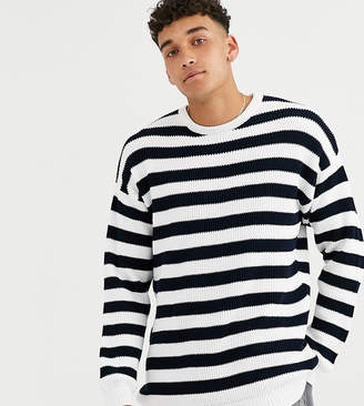 Asos Design DESIGN TALL knitted ribbed sweater with black and white stripe