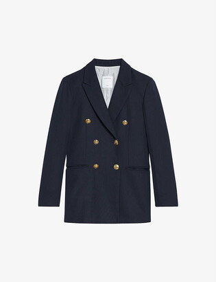 Sandro Sienne double-breasted stretch-crepe blazer
