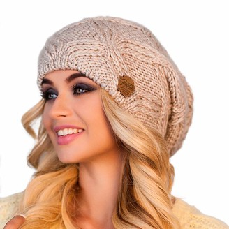 Braxton Hats Oversized Chunky Winter Beanie for Women Slouchy Merino Wool Knit Hat with Fleece Lining Perfect for Cold Weather Outdoor Activities - Brown -