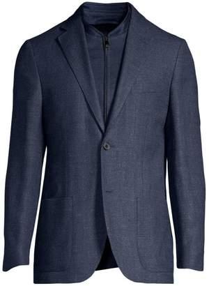 Corneliani Herringbone Knit Single-Breasted Wool-Blend Jacket