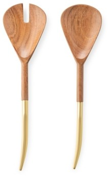 Classic Touch Wooden Salad Servers with Gold-Tone Handle