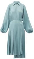 Fendi Asymmetric Pleated Satin Dress - Womens - Blue
